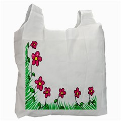 Floral Doodle Flower Border Cartoon Recycle Bag (one Side)