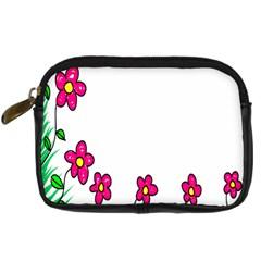 Floral Doodle Flower Border Cartoon Digital Camera Cases