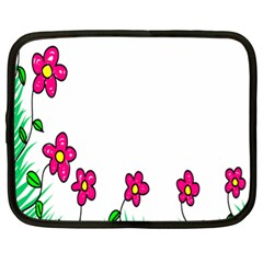 Floral Doodle Flower Border Cartoon Netbook Case (xl)