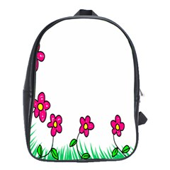 Floral Doodle Flower Border Cartoon School Bags(large)