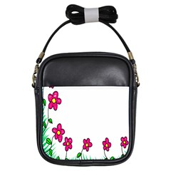 Floral Doodle Flower Border Cartoon Girls Sling Bags