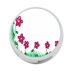 Floral Doodle Flower Border Cartoon 4-Port USB Hub (One Side)
