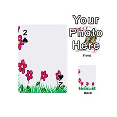 Floral Doodle Flower Border Cartoon Playing Cards 54 (Mini)