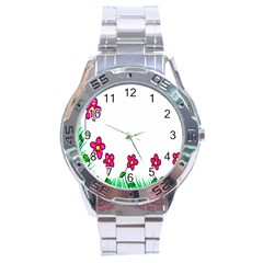 Floral Doodle Flower Border Cartoon Stainless Steel Analogue Watch