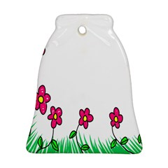 Floral Doodle Flower Border Cartoon Ornament (Bell)