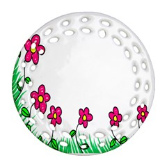 Floral Doodle Flower Border Cartoon Round Filigree Ornament (Two Sides)