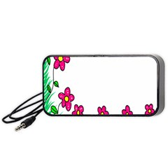 Floral Doodle Flower Border Cartoon Portable Speaker (Black)
