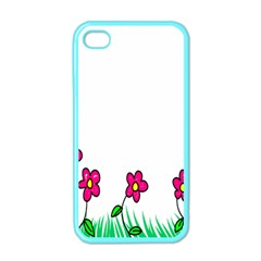 Floral Doodle Flower Border Cartoon Apple iPhone 4 Case (Color)