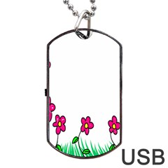 Floral Doodle Flower Border Cartoon Dog Tag USB Flash (Two Sides)