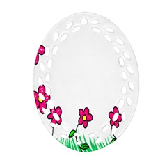 Floral Doodle Flower Border Cartoon Ornament (oval Filigree)