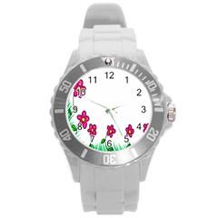 Floral Doodle Flower Border Cartoon Round Plastic Sport Watch (l)