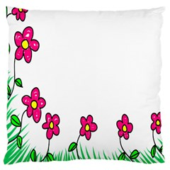 Floral Doodle Flower Border Cartoon Large Cushion Case (Two Sides)