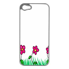 Floral Doodle Flower Border Cartoon Apple iPhone 5 Case (Silver)