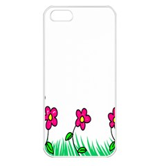 Floral Doodle Flower Border Cartoon Apple Iphone 5 Seamless Case (white)