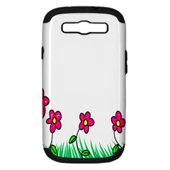Floral Doodle Flower Border Cartoon Samsung Galaxy S III Hardshell Case (PC+Silicone)