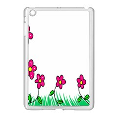 Floral Doodle Flower Border Cartoon Apple iPad Mini Case (White)