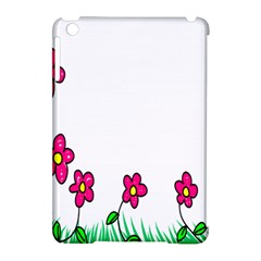 Floral Doodle Flower Border Cartoon Apple iPad Mini Hardshell Case (Compatible with Smart Cover)