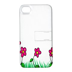 Floral Doodle Flower Border Cartoon Apple iPhone 4/4S Hardshell Case with Stand