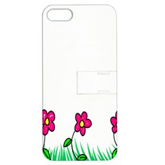 Floral Doodle Flower Border Cartoon Apple iPhone 5 Hardshell Case with Stand