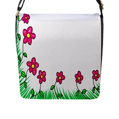 Floral Doodle Flower Border Cartoon Flap Messenger Bag (l)