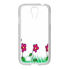Floral Doodle Flower Border Cartoon Samsung Galaxy S4 I9500/ I9505 Case (white)