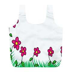 Floral Doodle Flower Border Cartoon Full Print Recycle Bags (l)