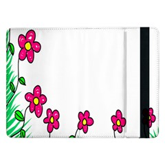 Floral Doodle Flower Border Cartoon Samsung Galaxy Tab Pro 12 2  Flip Case