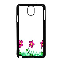 Floral Doodle Flower Border Cartoon Samsung Galaxy Note 3 Neo Hardshell Case (Black)