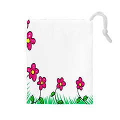 Floral Doodle Flower Border Cartoon Drawstring Pouches (large)