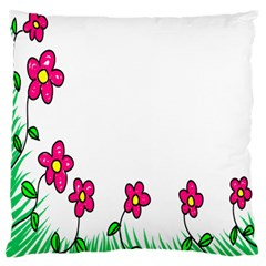 Floral Doodle Flower Border Cartoon Large Flano Cushion Case (Two Sides)