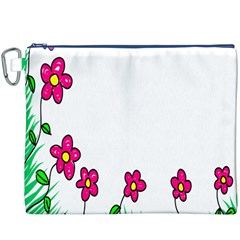 Floral Doodle Flower Border Cartoon Canvas Cosmetic Bag (XXXL)