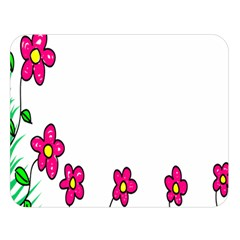 Floral Doodle Flower Border Cartoon Double Sided Flano Blanket (Large)
