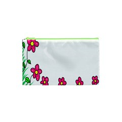 Floral Doodle Flower Border Cartoon Cosmetic Bag (XS)