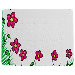 Floral Doodle Flower Border Cartoon Jigsaw Puzzle Photo Stand (Rectangular)
