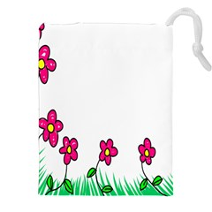 Floral Doodle Flower Border Cartoon Drawstring Pouches (XXL)