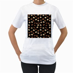 Donuts pattern Women s T-Shirt (White) (Two Sided)