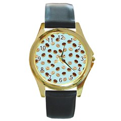 Donuts pattern Round Gold Metal Watch