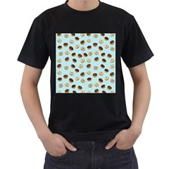 Donuts pattern Men s T-Shirt (Black) (Two Sided)