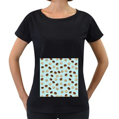 Donuts pattern Women s Loose-Fit T-Shirt (Black)