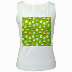 Cupcakes pattern Women s White Tank Top