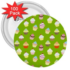 Cupcakes pattern 3  Buttons (100 pack)