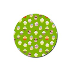 Cupcakes pattern Rubber Round Coaster (4 pack)