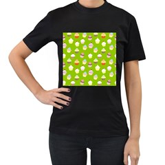 Cupcakes pattern Women s T-Shirt (Black)