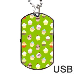 Cupcakes pattern Dog Tag USB Flash (Two Sides)