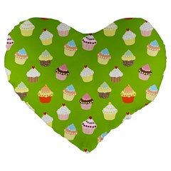 Cupcakes pattern Large 19  Premium Heart Shape Cushions