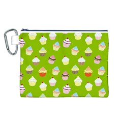 Cupcakes pattern Canvas Cosmetic Bag (L)