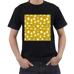 Cupcakes pattern Men s T-Shirt (Black) (Two Sided)