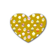 Cupcakes pattern Rubber Coaster (Heart)