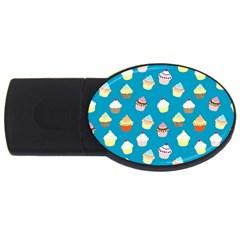 Cupcakes pattern USB Flash Drive Oval (1 GB)