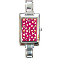 Cupcakes pattern Rectangle Italian Charm Watch